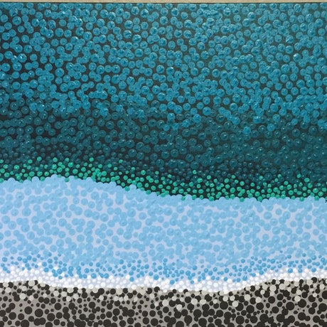 (CreativeWork) Dot painting 'Nambucca river' by gidabul doobay. Acrylic Paint. Shop online at Bluethumb.