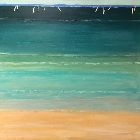 (CreativeWork) My summer beach by Ron Brown. Acrylic Paint. Shop online at Bluethumb.