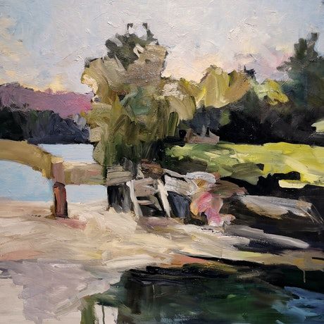 (CreativeWork) Balmoral Beach Sydney - Rocky Point Island by Ray Saunderson. Oil Paint. Shop online at Bluethumb.