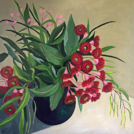 (CreativeWork) Red Gum Blossoms in Round Vase by John Klein. Acrylic Paint. Shop online at Bluethumb.