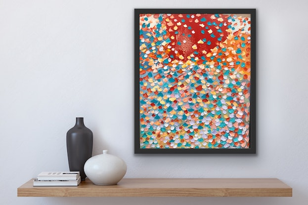(CreativeWork) Red Hill Framed by Theo Papathomas. Oil Paint. Shop online at Bluethumb.