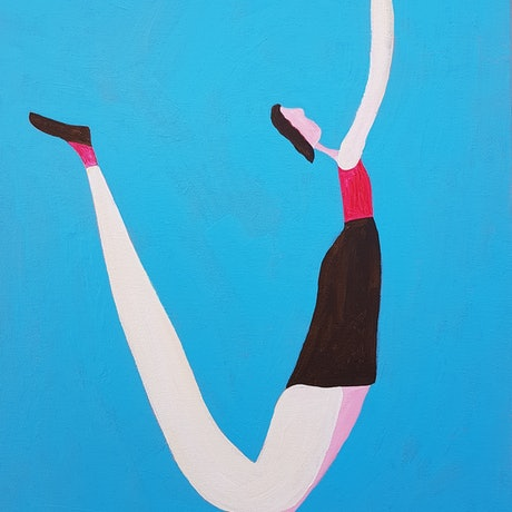 (CreativeWork) Woman Shooting a Ball by Yiwei Shi. Acrylic Paint. Shop online at Bluethumb.