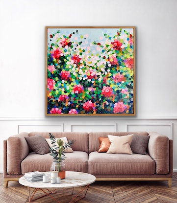 (CreativeWork) Red roses 102x102 framed large textured abstract  by Sophie Lawrence. Acrylic Paint. Shop online at Bluethumb.
