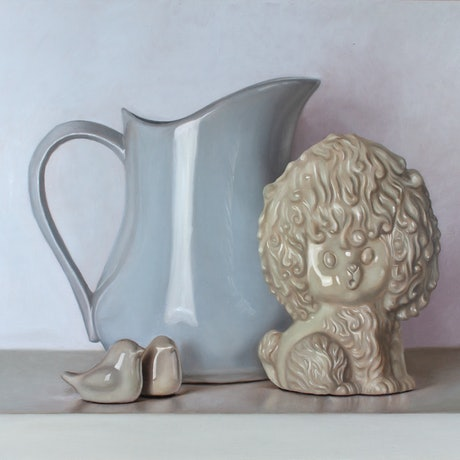 (CreativeWork) Porcelain Collection (Framed) by Casey Thornton. Oil Paint. Shop online at Bluethumb.
