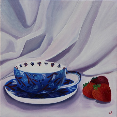 (CreativeWork) A Moment of Tea by Sudha Palani. Oil Paint. Shop online at Bluethumb.