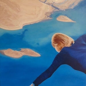 (CreativeWork) I want to fly  -  Colour of the year-blue  by Monika Feuerstein. Oil Paint. Shop online at Bluethumb.