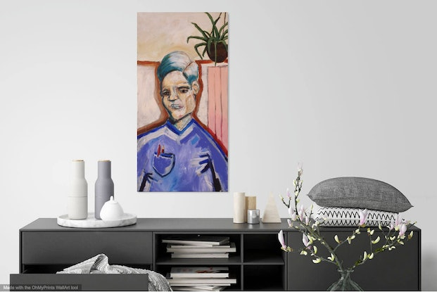 (CreativeWork) The Contemplating Painting, Painting by Sam Patterson-Smith. Acrylic. Shop online at Bluethumb.