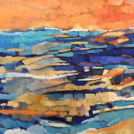 (CreativeWork) Low tide sunset by sue bannister. Oil Paint. Shop online at Bluethumb.