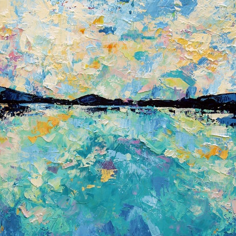 (CreativeWork) Between Heaven and Earth - Abstract Seascape by Eve Izzett. Oil Paint. Shop online at Bluethumb.
