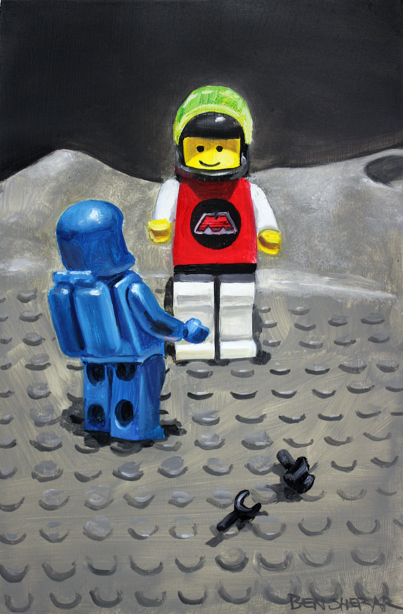 (CreativeWork) We're in space! by Ben Sherar. Oil Paint. Shop online at Bluethumb.
