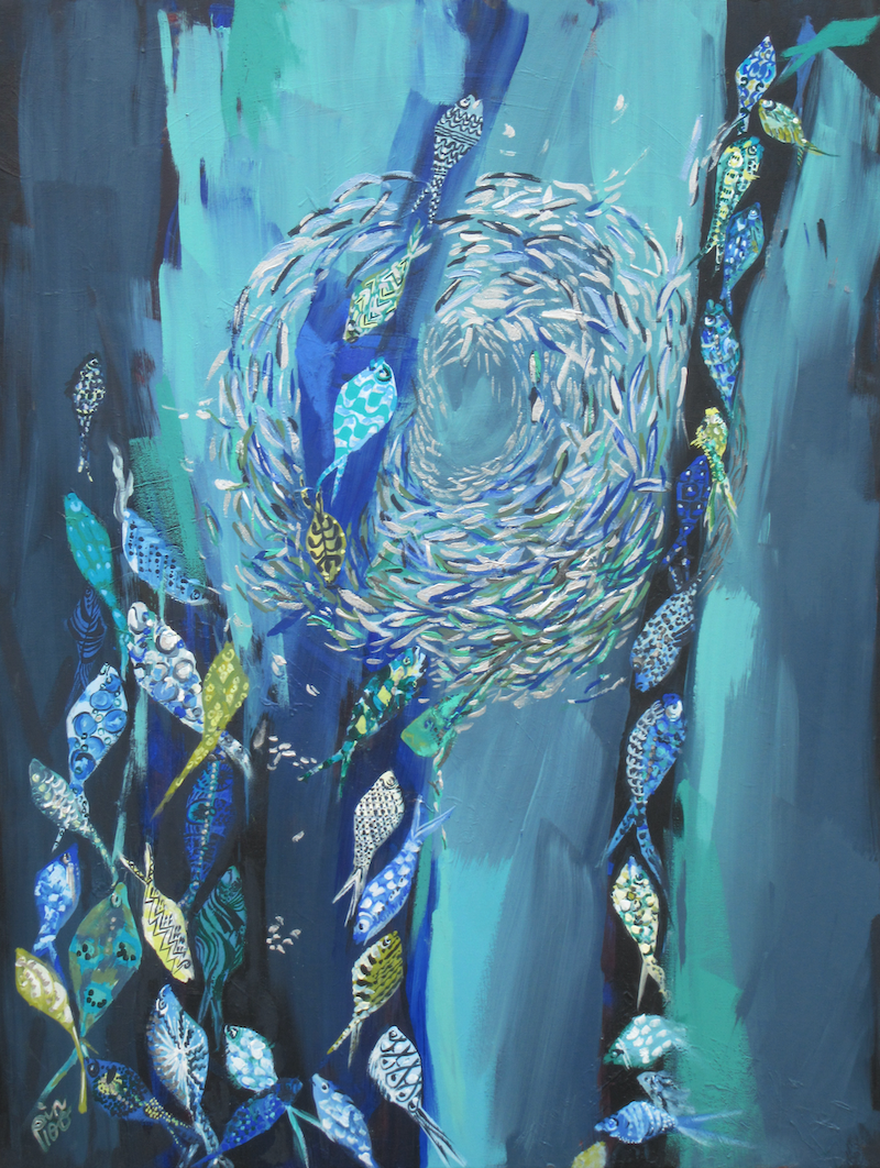 (CreativeWork) Fishes by Lesley Taylor. Acrylic Paint. Shop online at Bluethumb.