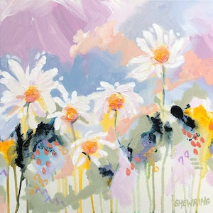 (CreativeWork) Daisy Kiss by Jen Shewring. #<Filter:0x00007f31274aabc8>. Shop online at Bluethumb.