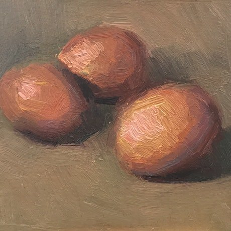 (CreativeWork) Three Eggs by Pablo Tapia. Oil Paint. Shop online at Bluethumb.