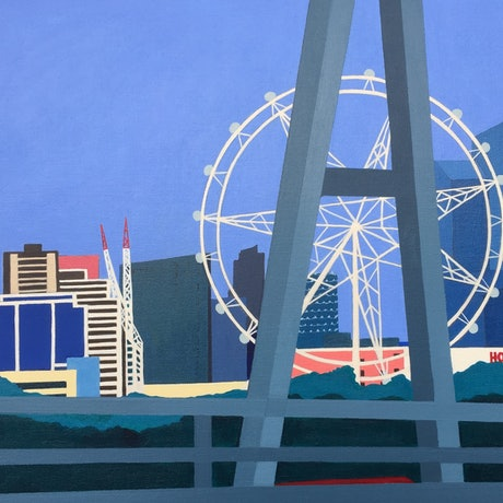 (CreativeWork) Melbourne Star Observation Wheel  by Marian Quigley. Acrylic Paint. Shop online at Bluethumb.