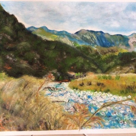 (CreativeWork) Bubbling river  by Ken McWhirter. Oil Paint. Shop online at Bluethumb.