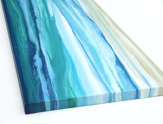 (CreativeWork) Sea Change - long blue, green, abstract seascape  by Stephanie Laine Pickering. Acrylic Paint. Shop online at Bluethumb.