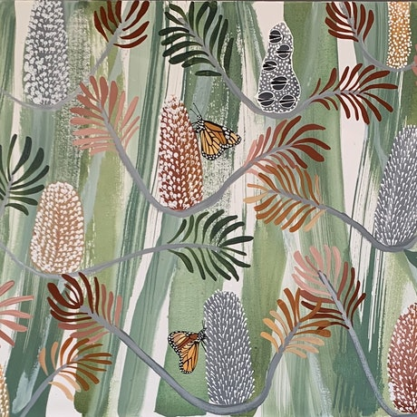 (CreativeWork) Butterfly Banksia by Kate Soady. Acrylic Paint. Shop online at Bluethumb.