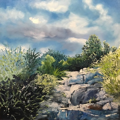 (CreativeWork) Climb to the Sky by Meredith Howse. Oil Paint. Shop online at Bluethumb.