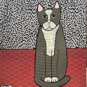 (CreativeWork) Grey Cat by Sally Dunbar. #<Filter:0x00007fa52c545eb0>. Shop online at Bluethumb.