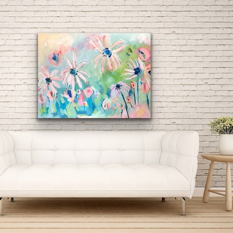 (CreativeWork) Sunkissed Daisies - Flowers by Jen Shewring. Oil Paint. Shop online at Bluethumb.