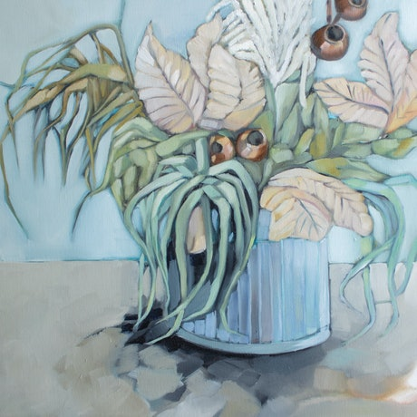(CreativeWork) Tin of flowers by Sam Suttie. Oil Paint. Shop online at Bluethumb.