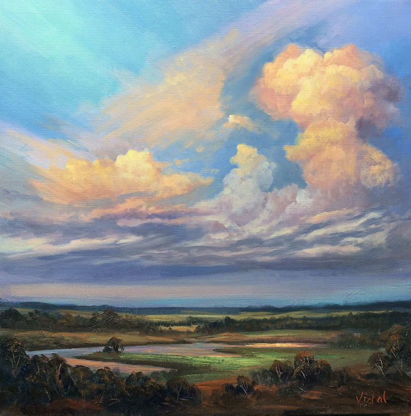 (CreativeWork) Storm clouds over the wetlands, Northern Territory - ready  to hang by Christopher Vidal. Oil Paint. Shop online at Bluethumb.