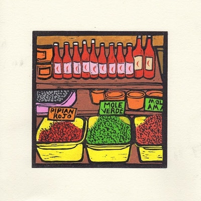 (CreativeWork) Spice Stall - Mexico Markets by Marty Cielens. #<Filter:0x0000562d1d519e88>. Shop online at Bluethumb.