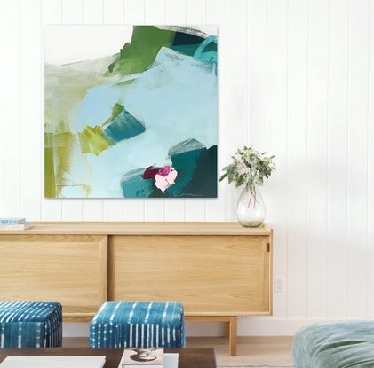 (CreativeWork) Vivida -  blue, green, pink, square abstract by Stephanie Laine. Acrylic Paint. Shop online at Bluethumb.