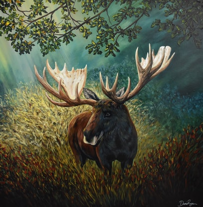 (CreativeWork) Mighty Moose by Daniela Rose. Acrylic Paint. Shop online at Bluethumb.