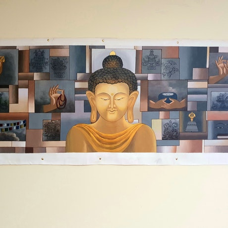 (CreativeWork) Modern and Contemporary Buddha by Arjun Gurung. Acrylic Paint. Shop online at Bluethumb.