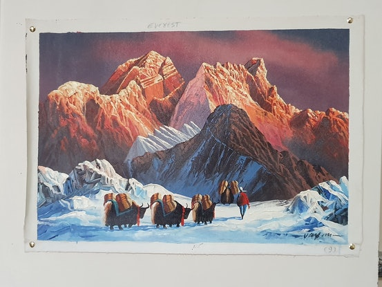 (CreativeWork) Everest Morning View by Arjun Gurung. Oil Paint. Shop online at Bluethumb.