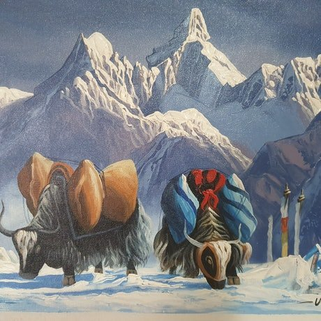 (CreativeWork) Everest and Yak Nepal by Arjun Gurung. Oil Paint. Shop online at Bluethumb.