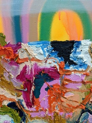 (CreativeWork) Rainbow on the Rocks by Marinka Parnham. Oil Paint. Shop online at Bluethumb.