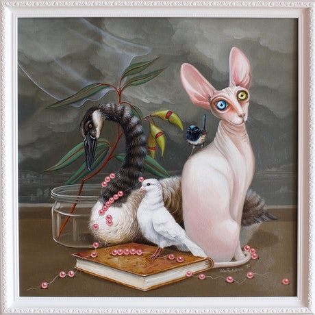 (CreativeWork) Innocent Thief | Cat and Pearls by Yulia Pustoshkina. Oil Paint. Shop online at Bluethumb.