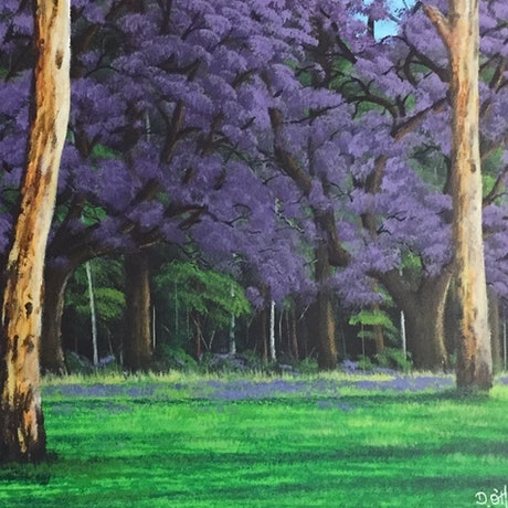 (CreativeWork) By The Shade Of The Jacarandas by David O'Halloran. Acrylic Paint. Shop online at Bluethumb.