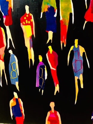 (CreativeWork) Movement and colour by Sharon Monagle. Acrylic Paint. Shop online at Bluethumb.