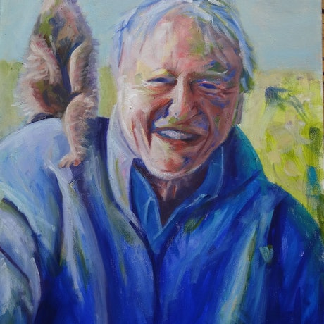 (CreativeWork) Sir David Attenborough by Diane Hodson. Oil Paint. Shop online at Bluethumb.