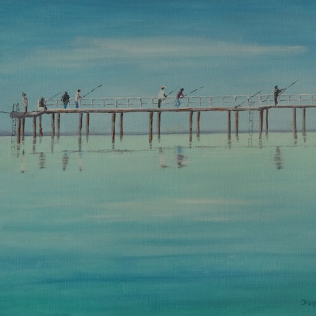 (CreativeWork) Fishing by Diane Hodson. Oil Paint. Shop online at Bluethumb.