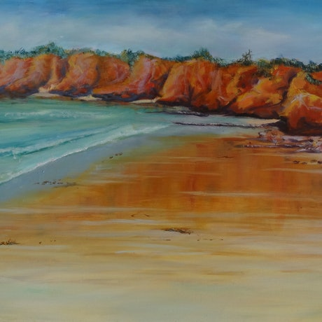 (CreativeWork) Torquay Beach by Diane Hodson. Oil Paint. Shop online at Bluethumb.