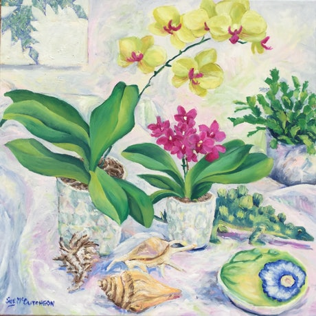 (CreativeWork) Orchids and Toy Dinosaur  by Sue McCutcheon. Oil Paint. Shop online at Bluethumb.