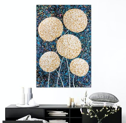 (CreativeWork) Flowers - Golden Textured Abstract Flowers by Miranda Lloyd. Mixed Media. Shop online at Bluethumb.