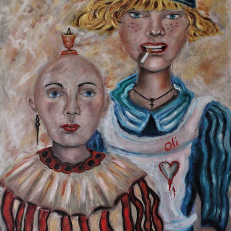 (CreativeWork) Crossdressers  by Olwyn (Oli) Conrau. Oil Paint. Shop online at Bluethumb.