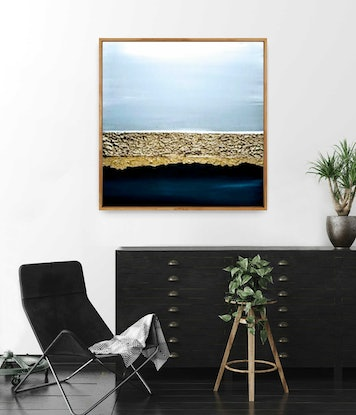 (CreativeWork) Blue Heaven - Framed abstract seascape - beach art by Josephine Ann Pitsiava. Mixed Media. Shop online at Bluethumb.