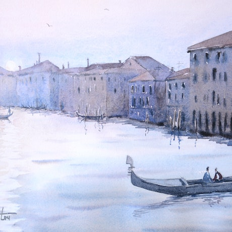 (CreativeWork) Venice Italy at Twilight by Chrysovalantou Mavroudis. Watercolour Paint. Shop online at Bluethumb.