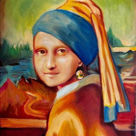 (CreativeWork) Mona Lisa with a Pearl Earring  by Rebecca Read. Oil Paint. Shop online at Bluethumb.