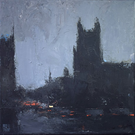 (CreativeWork) Cathedral rain - rainy cityscape by Mike Barr. Acrylic Paint. Shop online at Bluethumb.
