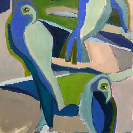 (CreativeWork) Bluebirds with Water by Margo Carlon. Acrylic Paint. Shop online at Bluethumb.