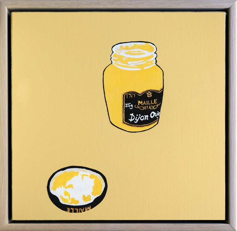 (CreativeWork) Maille Dijon Mustard by Steve Munro. Acrylic Paint. Shop online at Bluethumb.
