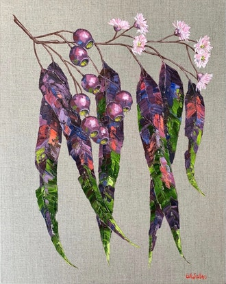 (CreativeWork) Gum Leaves Blush - Framed gum leaf painting on linen  by Eve Sellars. Oil Paint. Shop online at Bluethumb.