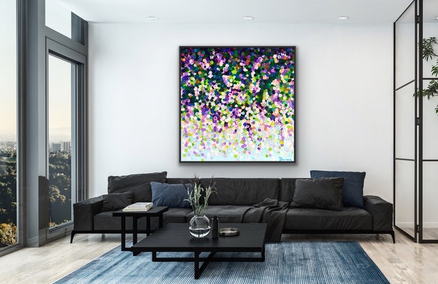 (CreativeWork) Wisteria 122x122 framed large abstract  by Sophie Lawrence. Acrylic Paint. Shop online at Bluethumb.